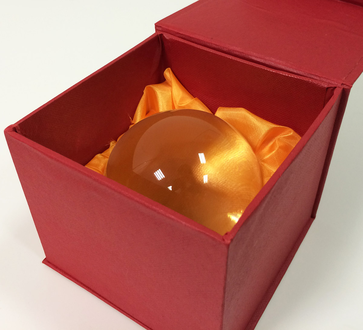 transparent glass sphere with gift box